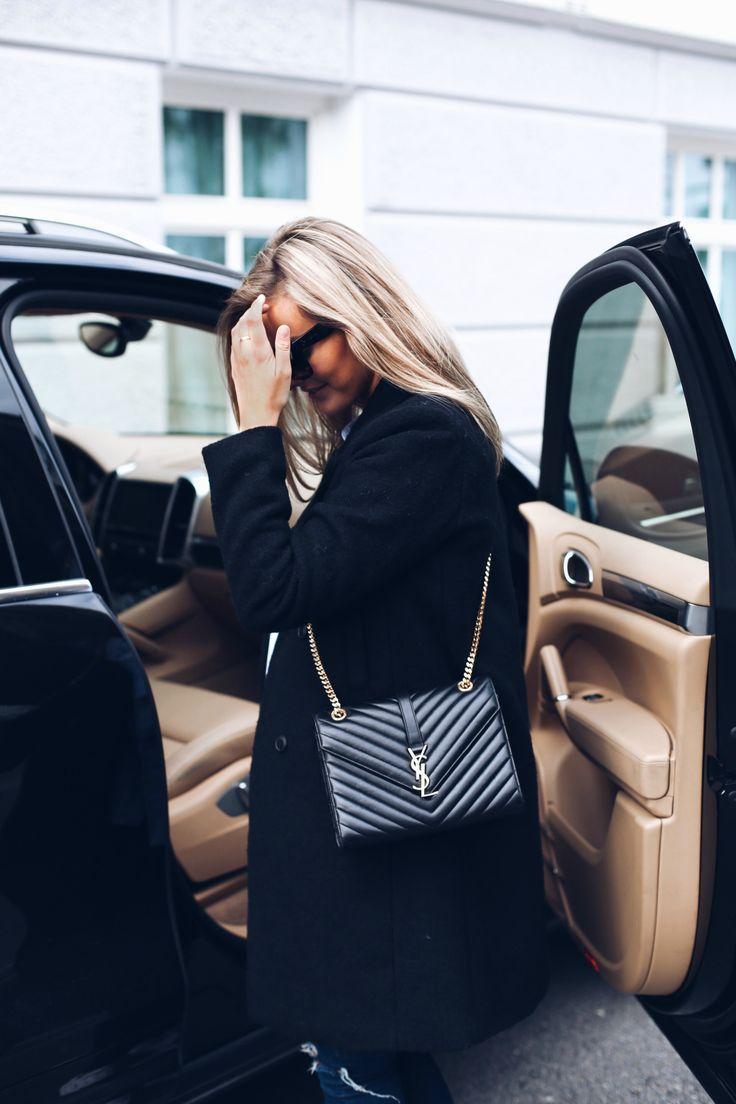 Saint Laurent Cassandre large quilted leather shoulder bag #StreetStyle Diese und weitere Taschen auf www.designertaschen-shops.de entdecken