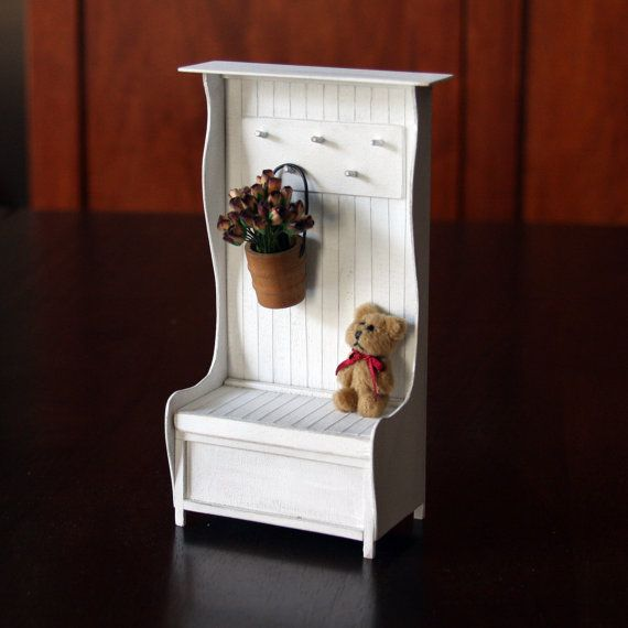 Doll House Miniature - White Shabby Chic Hall Tree