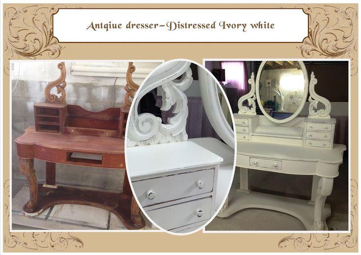 Antique dresser - distressed Ivory white