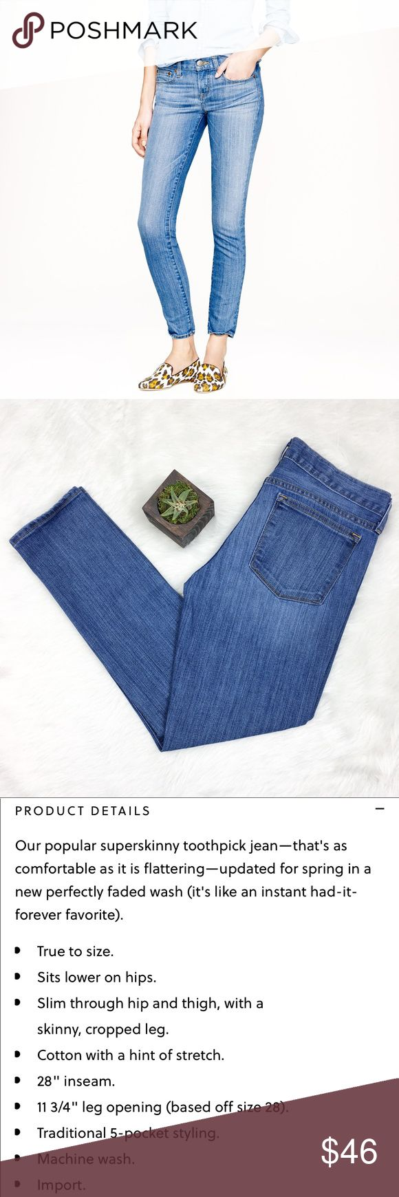 J.Crew Toothpick Jean in Northport Wash J.Crew toothpick jeans in northport wash. Size 28 with 27' inseam. These are ankle length jeans. EUC with no major flaws.  ❌No trades ❌ Modeling ❌No PayPal or off Posh transactions ❤️ I 💕Bundles ❤️Reasonable Offers PLEASE ❤️ J. Crew Jeans Ankle & Cropped