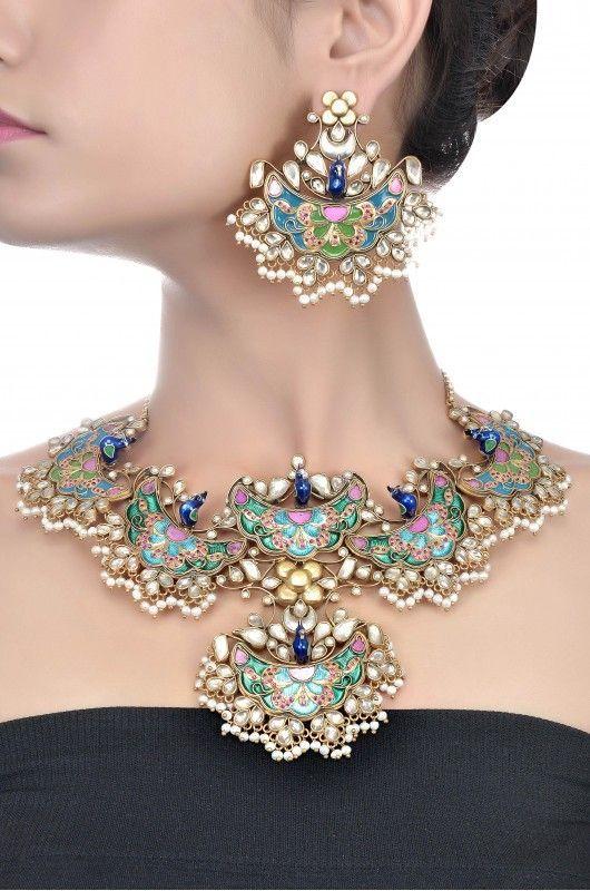 Silver Enamel Crystal & Pearl Peacock Necklace Set