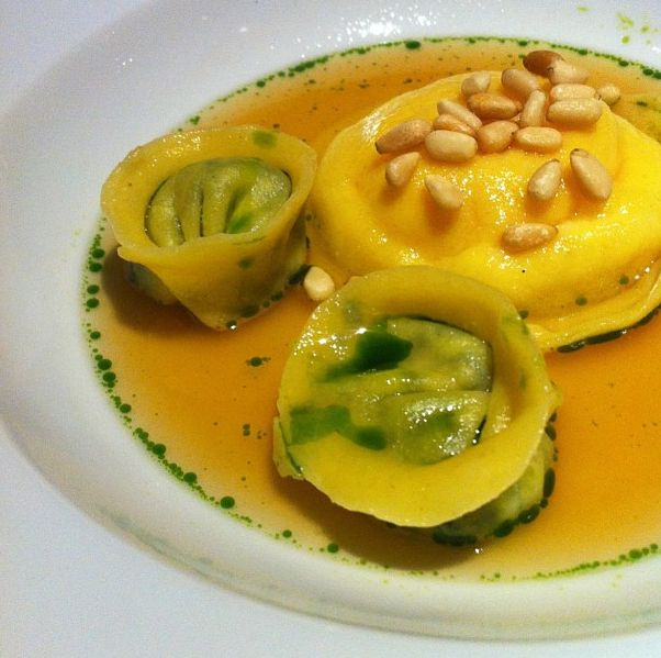 Hen yolk, ricotta ravioli w pine nut & spinach ricotta capalletti, parm broth, nutmeg