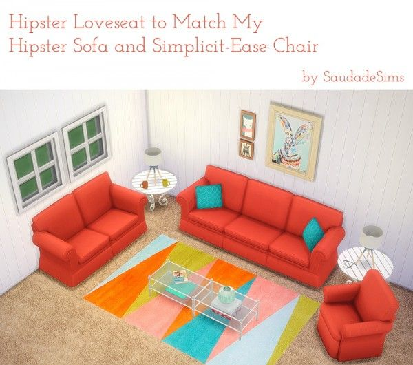 Saudade Sims: Hipster Loveseat recolor • Sims 4 Downloads