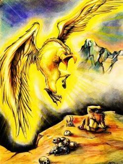 El Alicanto es una criatura mitológica del desierto de la Región de Atacama, perteneciente a la mitología chilena.  Este posee grandes alas de color dorado, una delicada cabeza como la de un cisne, un pico encorvado, y patas alargadas con grandes garras.  Tiene la característica especial de que sus alas brillan durante la noche con hermosos y metálicos colores, y sus ojos despiden extraños fulgores (luces).