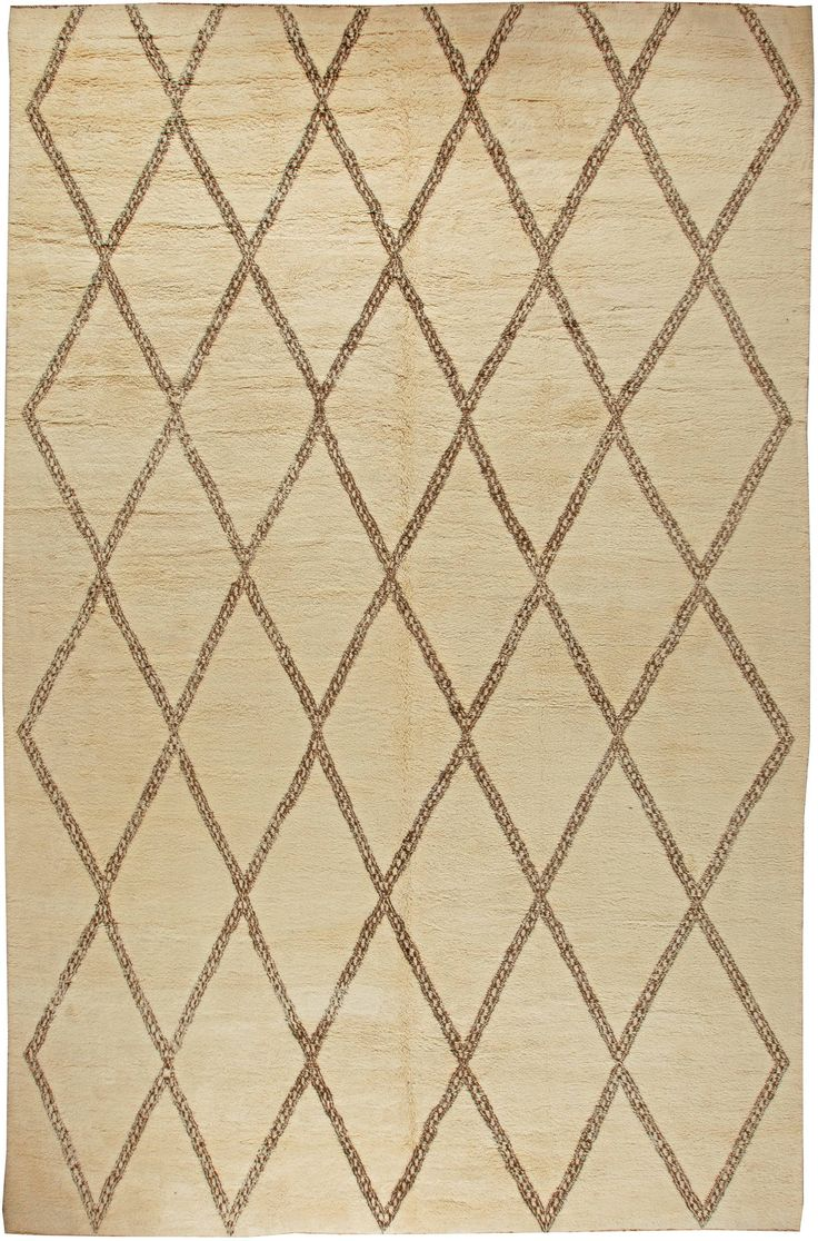Modern Rugs: Modern Moroccan rug in beige, modern style perfect for modern interior decor, modern living room, geometric pattern rug
