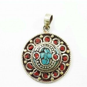 Mosaic Turquoise Tiles Silvertone Jewelry Nepal Fashion Pendants Jewellry Gift