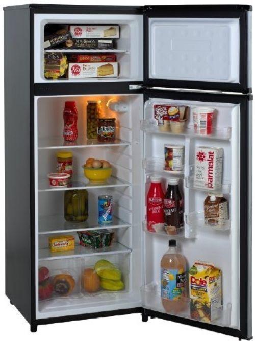 Avanti RA7316PST 2-Door Apartment Size Refrigerator, Black With Platinum Finish #Avanti
