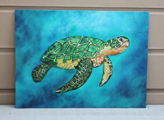 RESERVE - Margie Original Sea Turtle Art Ocean Decor Summer Sea life Wildlife Colorful Painting Beach Acrylic Home Decor Ocean Art Sea Art