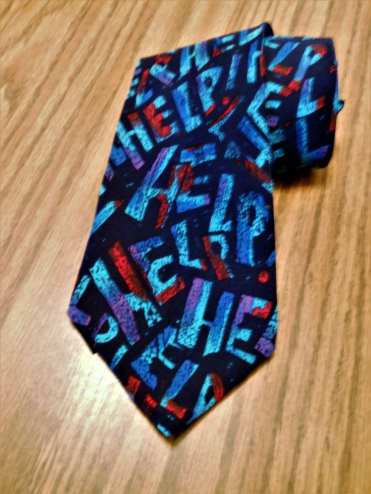 Father's Day Beatles Silk Necktie, Beatles Help Tie, 1991 Apple Corps Limited The Beatles Tie, Manhattan Menswear Group 100% Imported Silk by AKitschIsJustAKitsch on Etsy