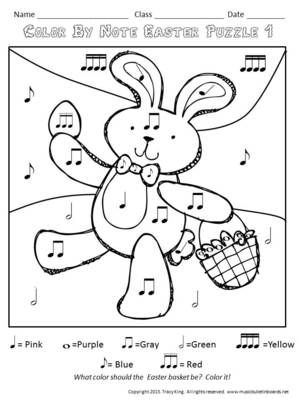 Easter Color by Music Symbol-set of 8 Color Sheets for Music Class from The Bulletin Board Lady on TeachersNotebook.com (8 pages)