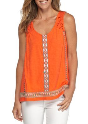 New Directions Weekend Women's Sleeveless Embroidered Tee - Orange - Xl