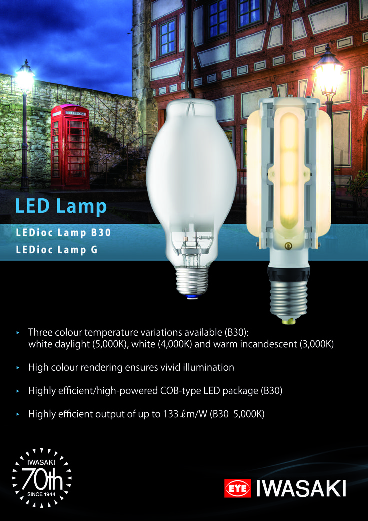 Promotional leaflet for EYE Lighting's #retrofit #LED #lamps LEDioc Lamp B30 and LEDioc Lamp G, as seen at light+building 2014 #lb14