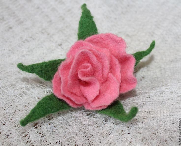 Купить Брошь цветок розовая из шерсти - розовый, брошь-цветок, украшение брошь, купить брошь