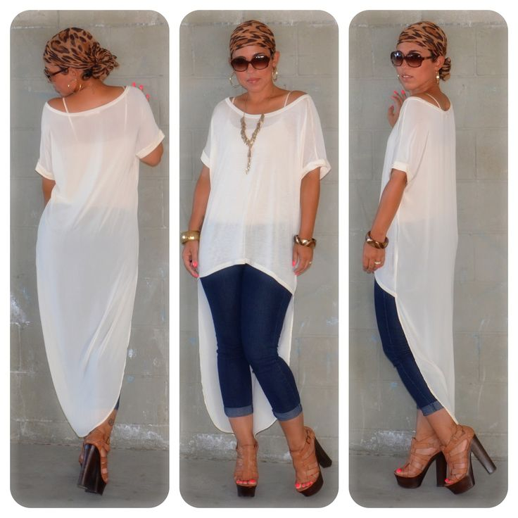 taking the high-low hem to a whole new level... the front is jersey and the back is chiffon. <3