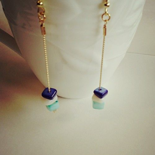 Bead and chain long earrings