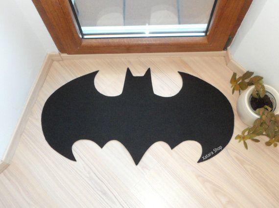 Rug based in a Batman logo shape doormat. Custom door by Xatara, $40.00