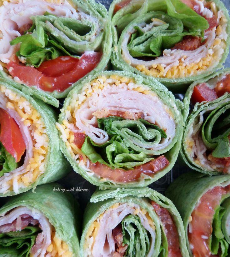Turkey Club Tortilla Pinwheels - subbed hummus for mayo & used spinach.