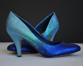 Light blue ombre low heels blue pumps something blue by RagzDagzTM