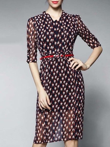 Dot Printed Chiffon Midi Dress for #fashoin #woman