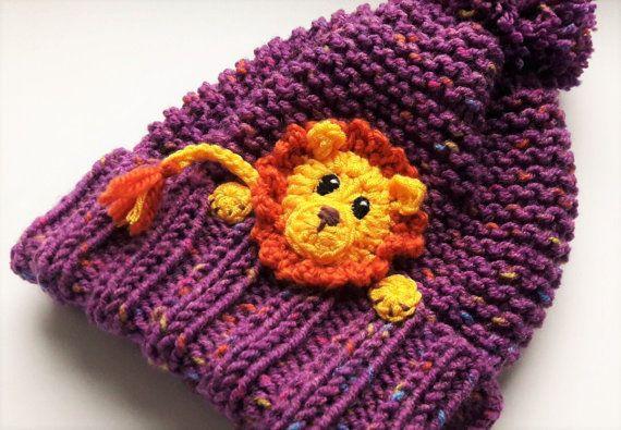 Niños Knit Hat sombrero del invierno sombrero de León Pom