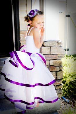 Flower girl. White w/purple for little girls, purple w/ white for big girl...?