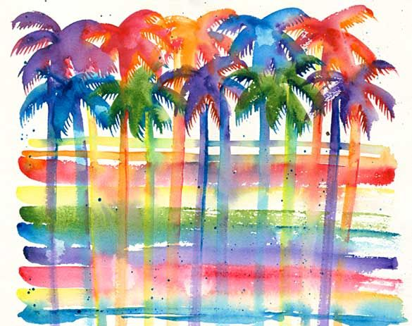 Tropical palm trees watercolor painting, abstract. By Nadine Ramelb.