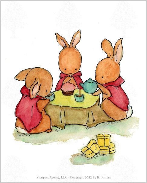 A gossipy looking gathering of bunnies if ever I've seen one. - art print from an original watercolor, gouache, and acrylic painting by Kit Chase. - archival matte paper and ink - vertical print - shi