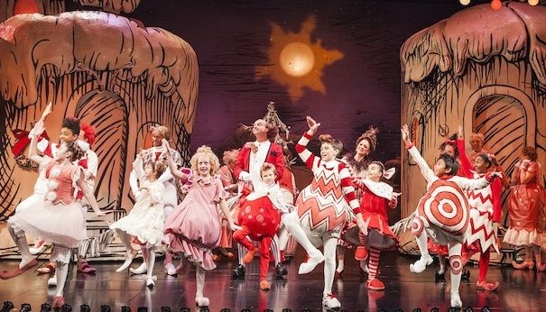 """The cast of the 2013 production of """"Dr. Seuss' How the Grinch Stole Christmas!"""" at The Old Globe (Photo by Jim Cox)"""