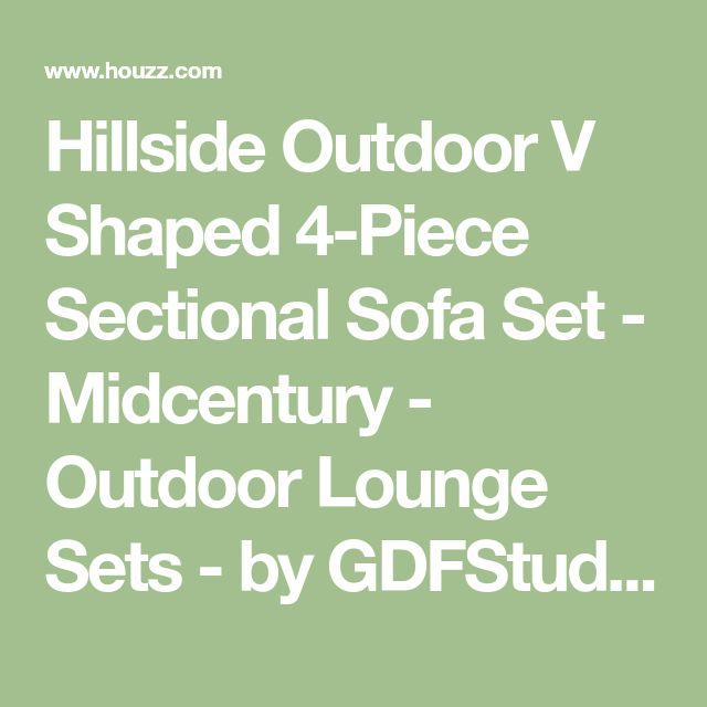 Hillside Outdoor V Shaped 4-Piece Sectional Sofa Set - Midcentury - Outdoor Lounge Sets - by GDFStudio