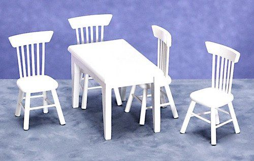 "White Dollhouse Kitchen Furniture in 1"" Scale"