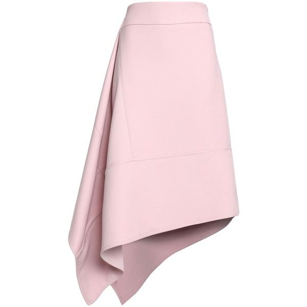 MARNI  Asymmetric wool-crepe skirt ($555) ❤ liked on Polyvore featuring skirts, marni, woolen skirt, high rise skirt, pink high waisted skirt and crepe skirt