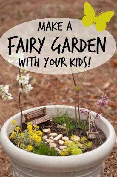 Make A Fairy Garden With Your Kids!  Cute idea - grab a garden pot and let your imagination go. Use little plants, stones, sticks, and other natural materials to place in your container.  Or, fill the container with low-cost fairy items from your local craft store.  The fairies will thank you for their new fun spot.