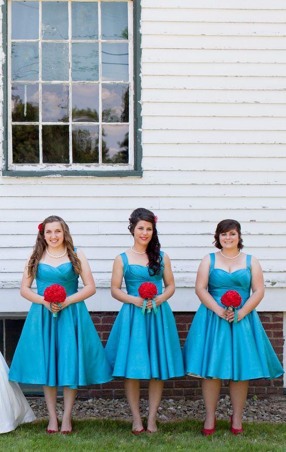 Retro svadba - družičkovské šaty