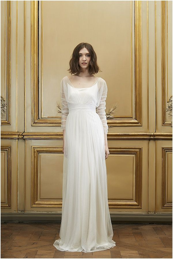 Divinely simple and romantic.  I love how the fabric is allowed to move and gather.  This is the perfect dress for a vast array of wedding styles. Delphine Manivet 2015 Collection