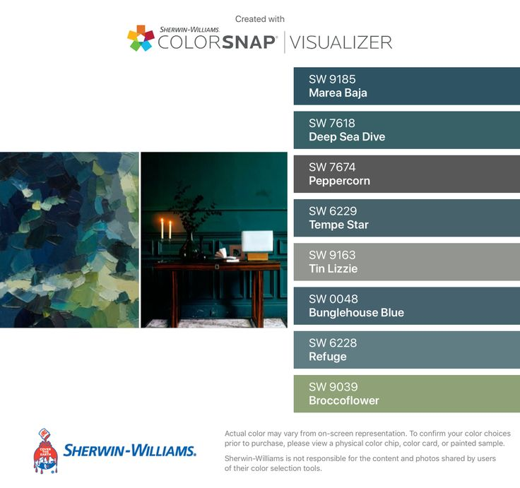 I found these colors with ColorSnap® Visualizer for iPhone by Sherwin-Williams: Marea Baja (SW 9185), Deep Sea Dive (SW 7618), Peppercorn (SW 7674), Tempe Star (SW 6229), Tin Lizzie (SW 9163), Bunglehouse Blue (SW 0048), Refuge (SW 6228), Broccoflower (SW 9039).