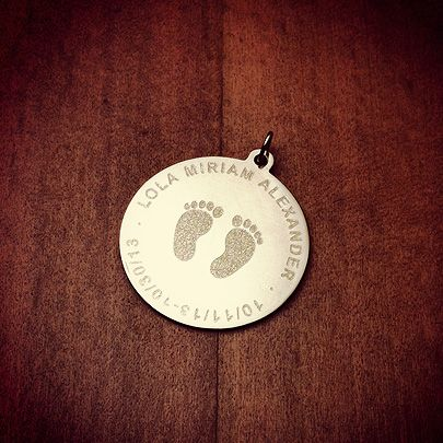 Custom Engraved 14k Gold Baby Footprints Disc Charm Pendant
