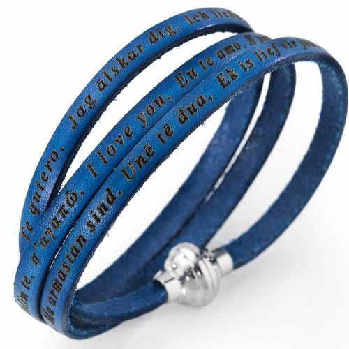 Pulsera AMEN Te Amo en todos los idiomas Azul jeans | venta online en HOLYART