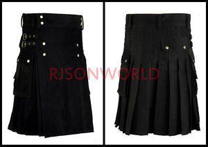 Utility Black Fashion Kilt Goth Outdoor Kilt For Men in All Sizes