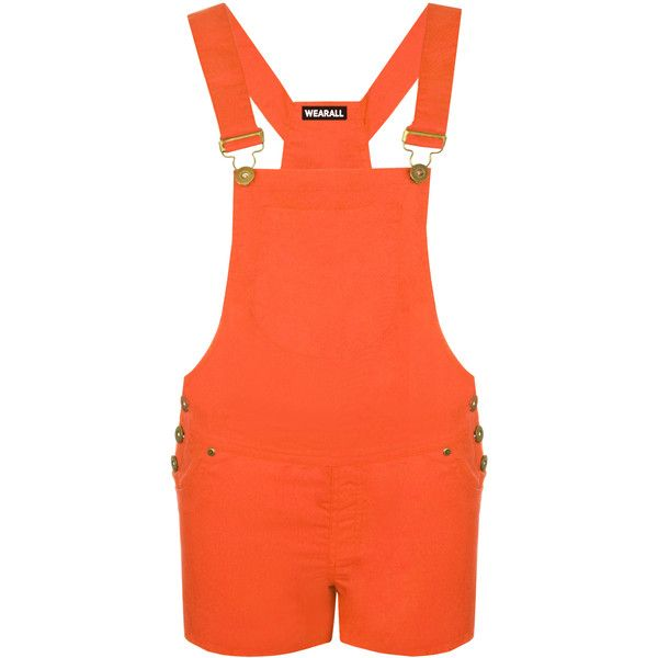Kira Patch Pocket Dungaree Playsuit (£16) ❤ liked on Polyvore featuring jumpsuits, rompers, orange, playsuit romper and orange romper