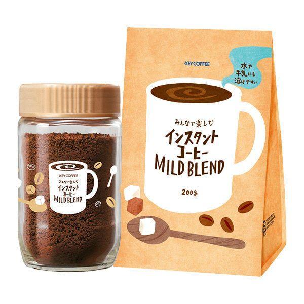キーコーヒー みんなで楽しむインスタントコーヒー マイルドブレンド 詰替えセット コーヒーポスター コーヒー コーヒー クッキー
