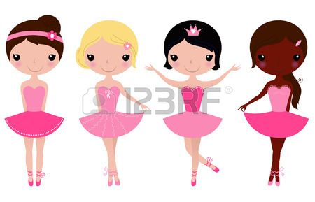 Happy multicultural ballerinas  Vector cartoon Illustration