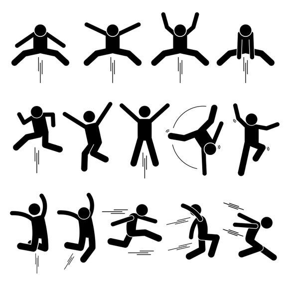 Stick Figure Stickman Stick Man People Person Poses Postures Jump Jumping Hop Hopping Leap Actions Pictogram Download Icons Png Svg Vector In 2021 Stick Figure Drawing Stick Figures Stick Men Drawings