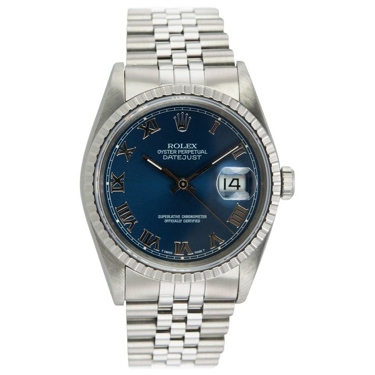 Rolex Stainless Steel Datejust Wristwatch Ref 16220 circa 1991 Rolex stainless steel Datejust wristwatch, Ref. 16220, circa 1991. This classic Datejust has a sapphire crystal, a blue dial with Roman numerals, a steel fluted bezel, locking waterproof crown, Jubilee bracelet. The case measures 36 mm in width. #CraigEvanSmall