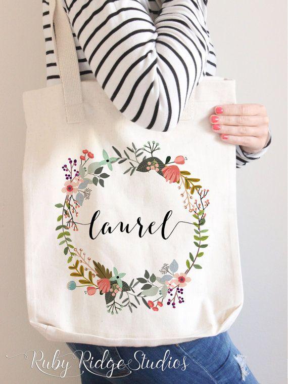 Personalised Name Floral Round Wreath Tote Bag by RubyRidgeStudios