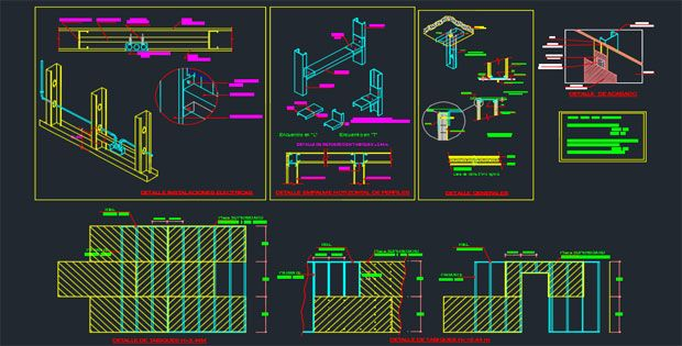 Drawing drywall track details Free DWG