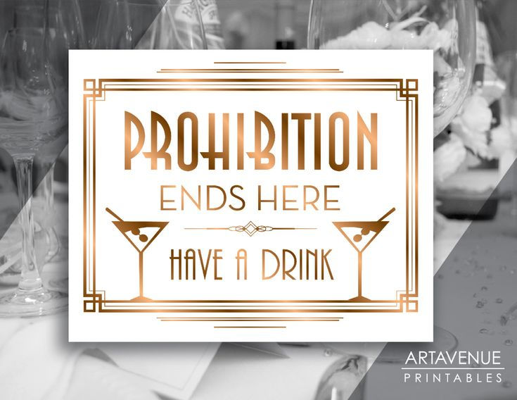 "Gatsby Prohibition Printable Art Gatsby Wedding Art Deco Party Sign - ""Prohibition Ends Here Have A Drink"" Sign - ADBR1 by ARTAVENUEPRINTS on Etsy"