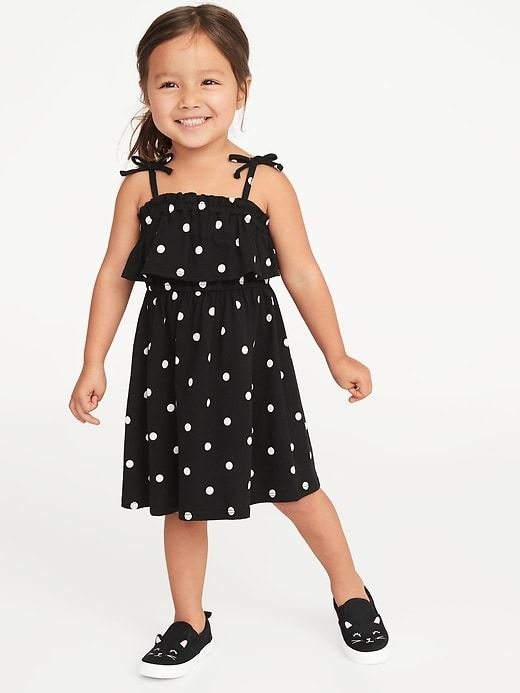8b2a3abe3098 Old Navy Toddler Girls' Printed Jersey Ruffled Fit & Flare Dress Black &  White Polka