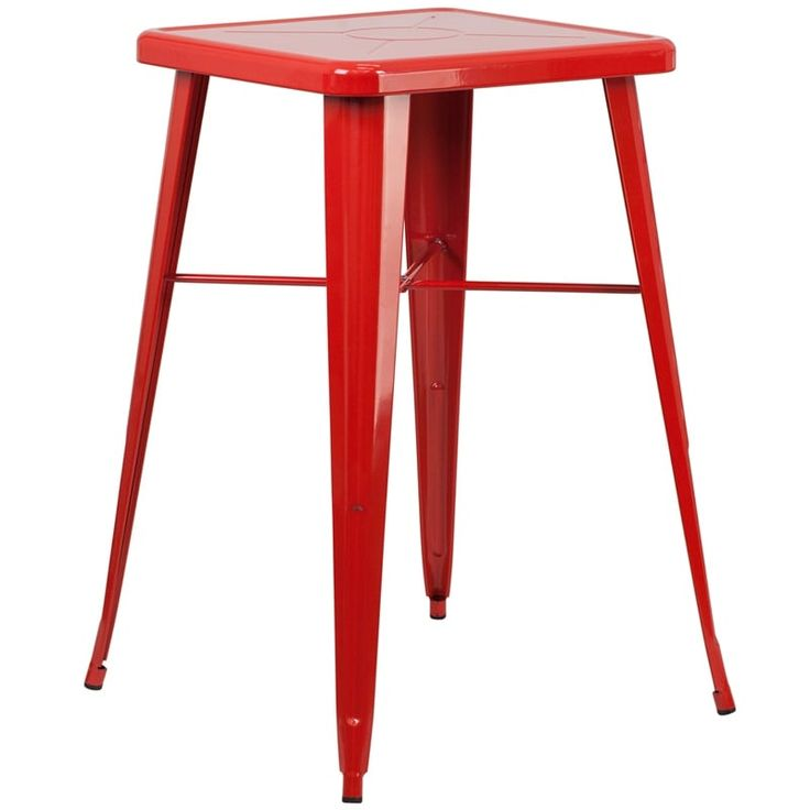 iHome Collins Square 23.75'' Red Metal Bar Height Table for Indoor/Outdoor/Patio/Bar/Restaurant, Patio Furniture