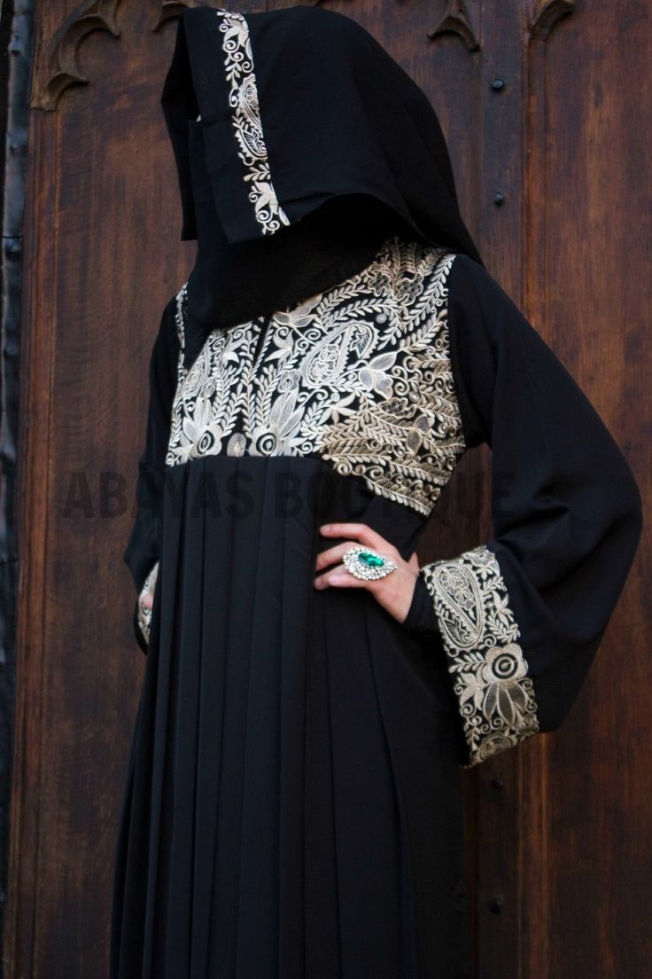 Black and Gold Enchantress Abaya The Black and Gold Enchantress Abaya is the most enchanting abaya ever. With fascinating details of gold thread details that catches they eye almost bewitched by its charm. Empress Collection ABAYAS-Abayas Boutique