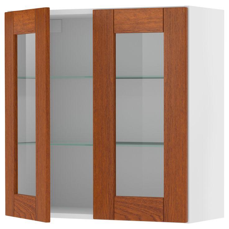 Akurum Wall Cabinet With 2 Glass Doors Birch Effect